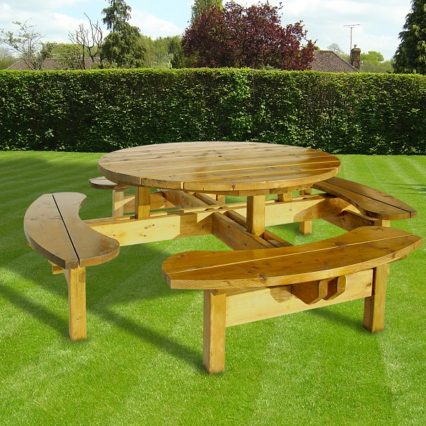 Round Picnic Table Woodford Timber, Round Wooden Garden Table And Chairs Ireland